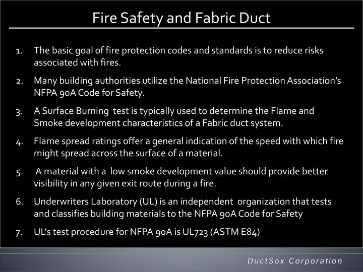 Fire Safety and Fabric Duct