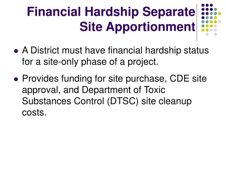 Financial Hardship Separate Site Apportionment