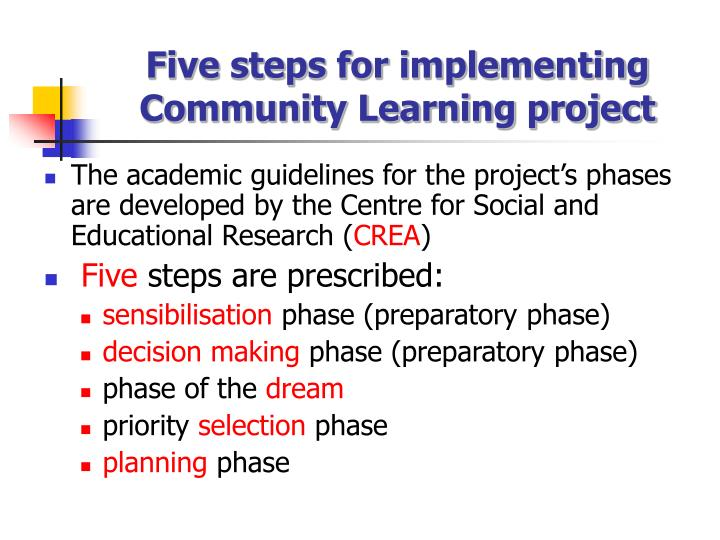 Five steps for implementing Community Learning project