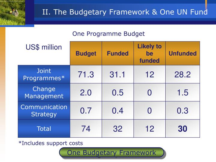 II. The Budgetary Framework & One UN Fund