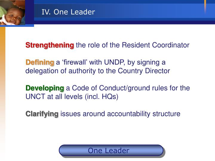 IV. One Leader