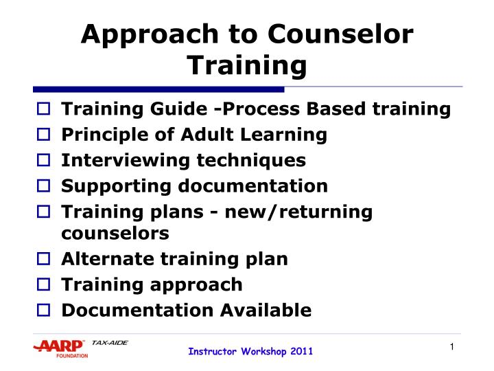 approach to counselor training n.