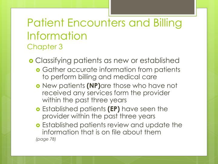 Patient Encounters and Billing Information