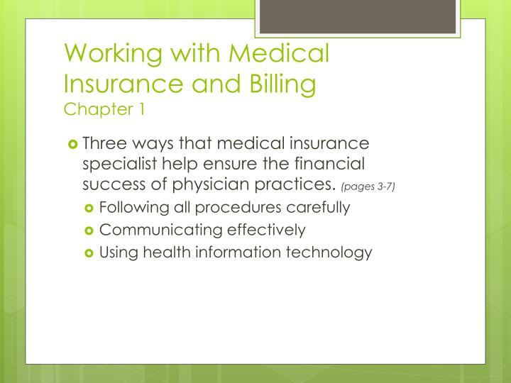 Working with medical insurance and billing chapter 1