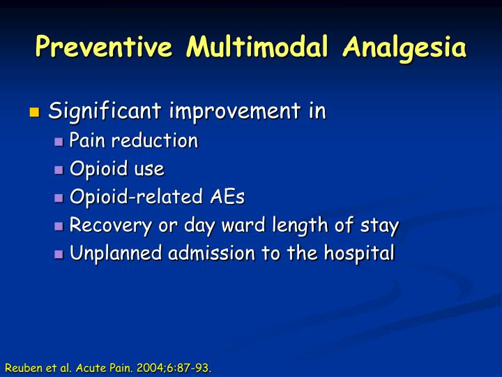 Preventive Multimodal Analgesia