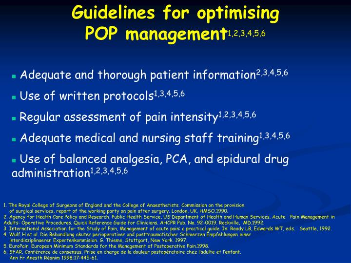 Guidelines for optimising