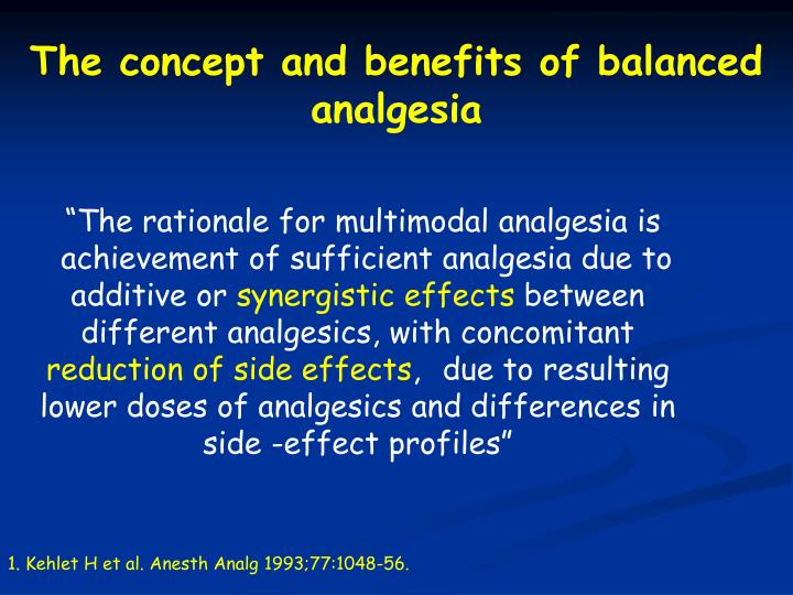 The concept and benefits of balanced analgesia