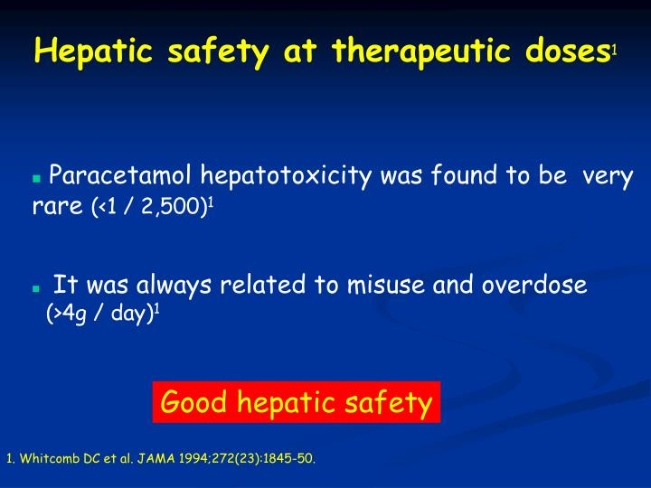 Hepatic safety at therapeutic doses