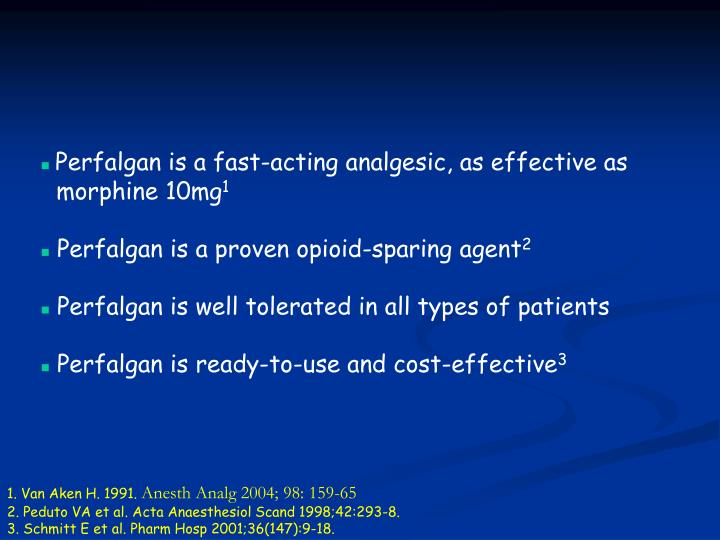 Perfalgan is a fast-acting analgesic, as effective as 	morphine 10mg