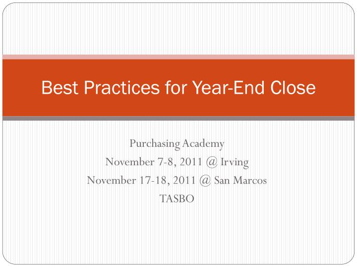 Best practices for year end close