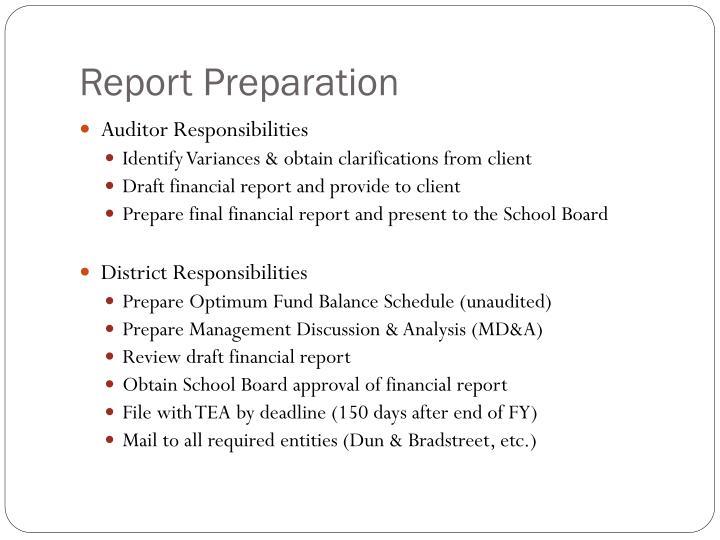Report Preparation