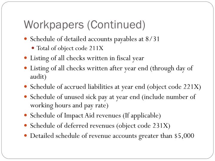 Workpapers (Continued)