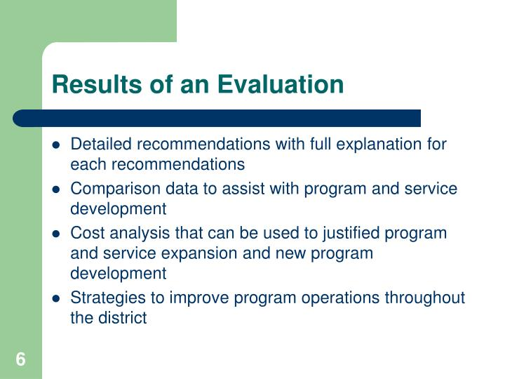 Results of an Evaluation