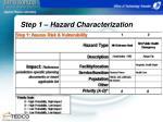 step 1 hazard characterization