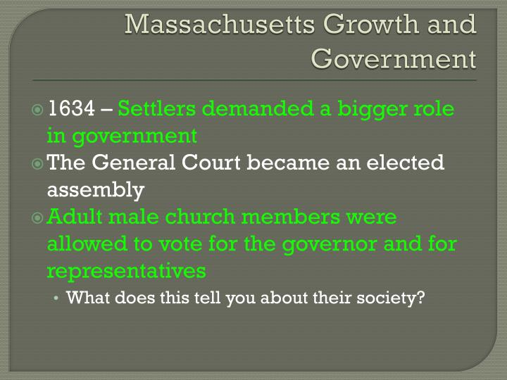 Massachusetts Growth and Government