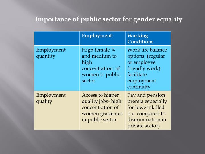 Importance of public sector for gender equality