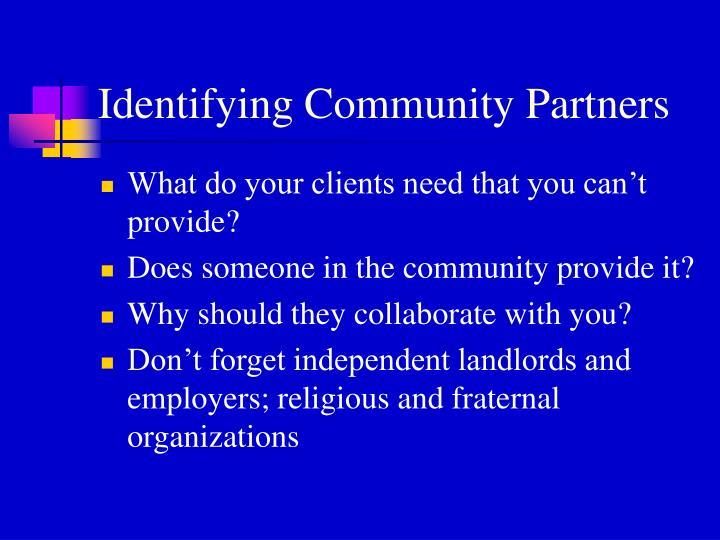 Identifying Community Partners