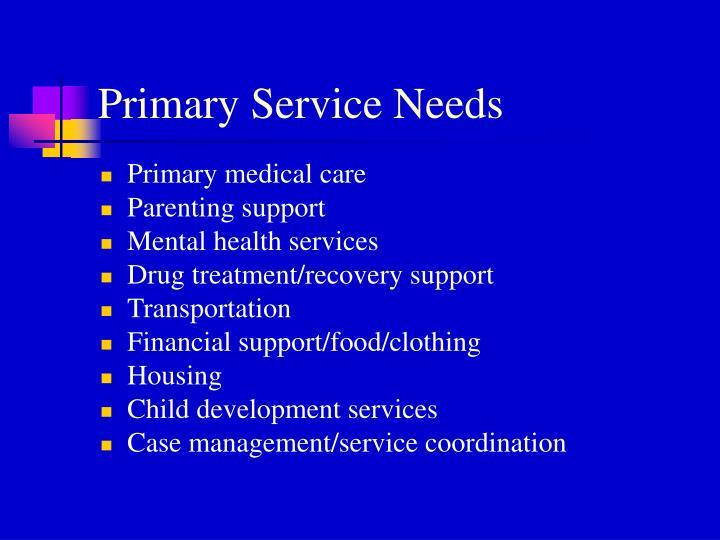 Primary Service Needs