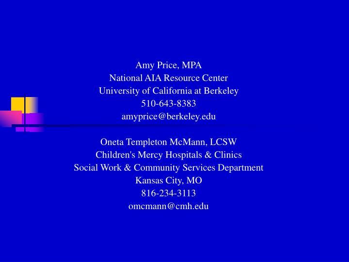 Amy Price, MPA