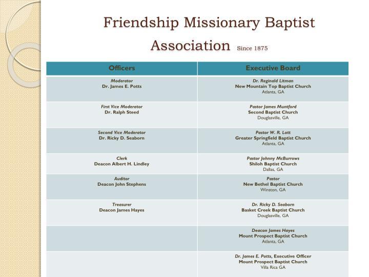 Friendship missionary baptist association since 18751