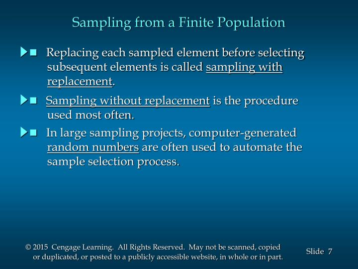 Sampling from a Finite Population