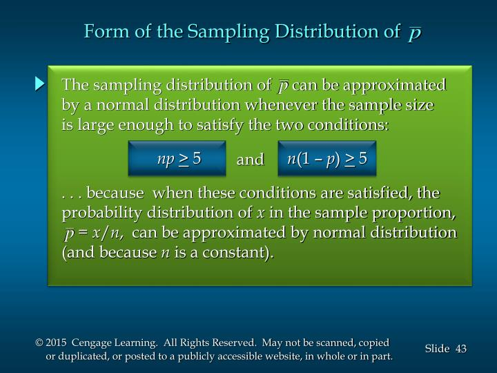 Form of the Sampling Distribution of