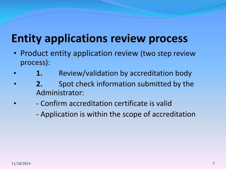 Entity applications review process
