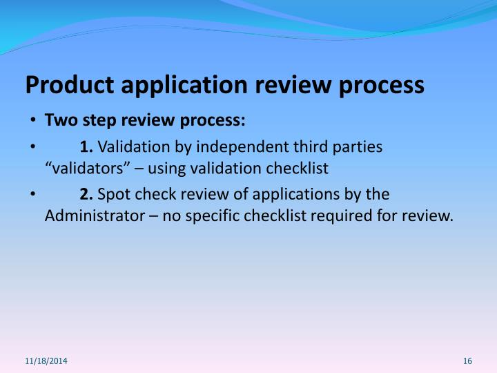 Product application review process