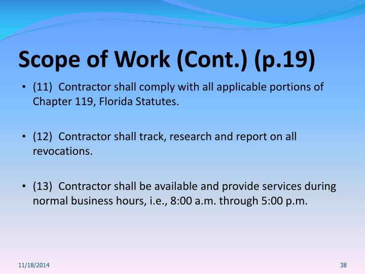 Scope of Work (Cont.) (p.19)
