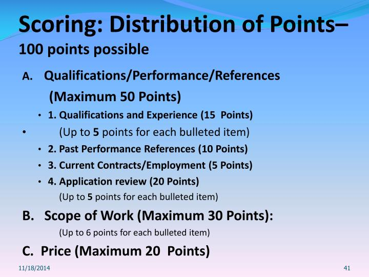 Scoring: Distribution of Points–