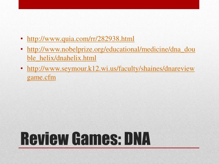Review games dna