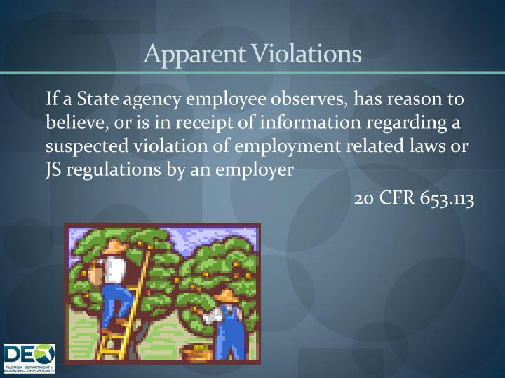 Apparent Violations