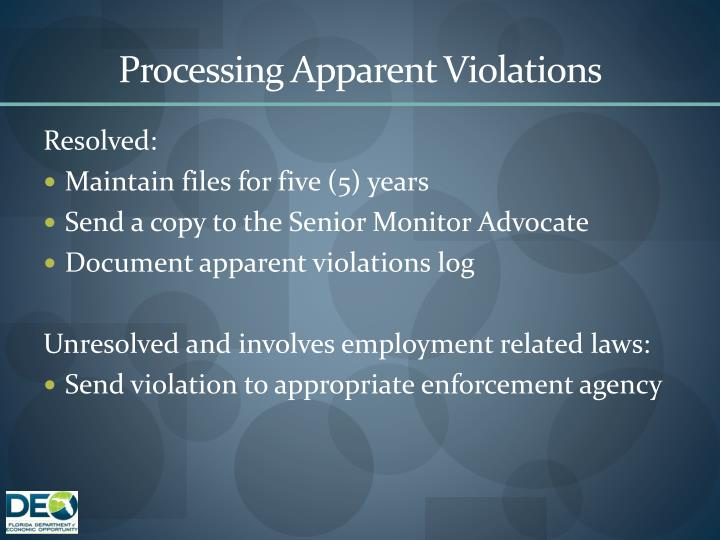 Processing Apparent Violations