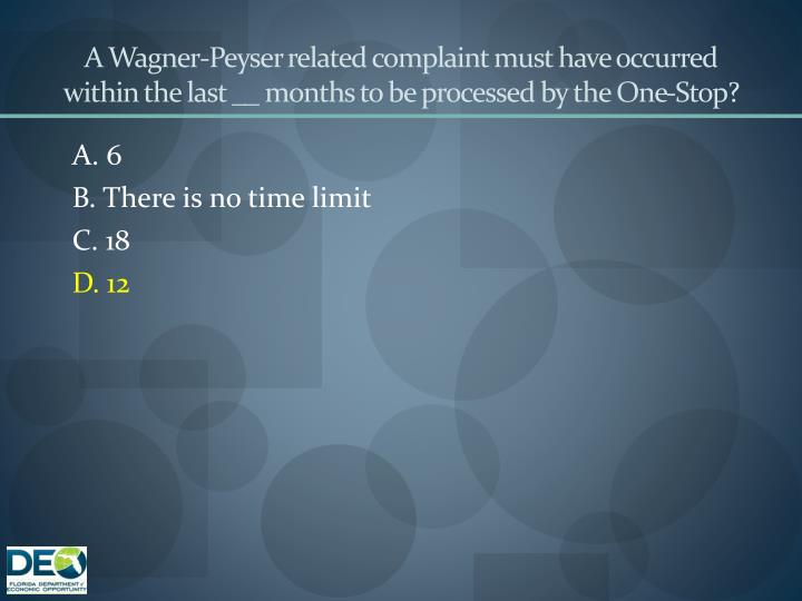 A Wagner-Peyser related complaint must have occurred within the last __ months to be processed by the One-Stop?