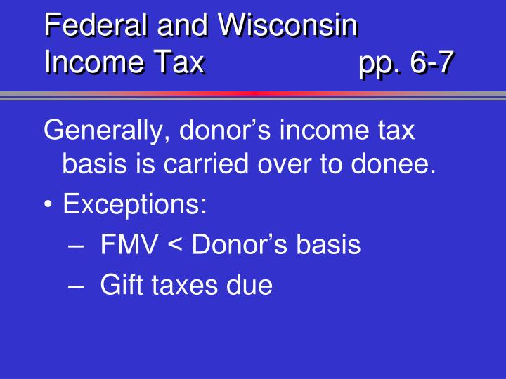 Federal and Wisconsin Income Taxpp. 6-7