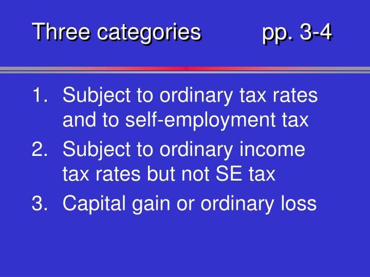 Three categoriespp. 3-4