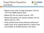 target patient population and goals
