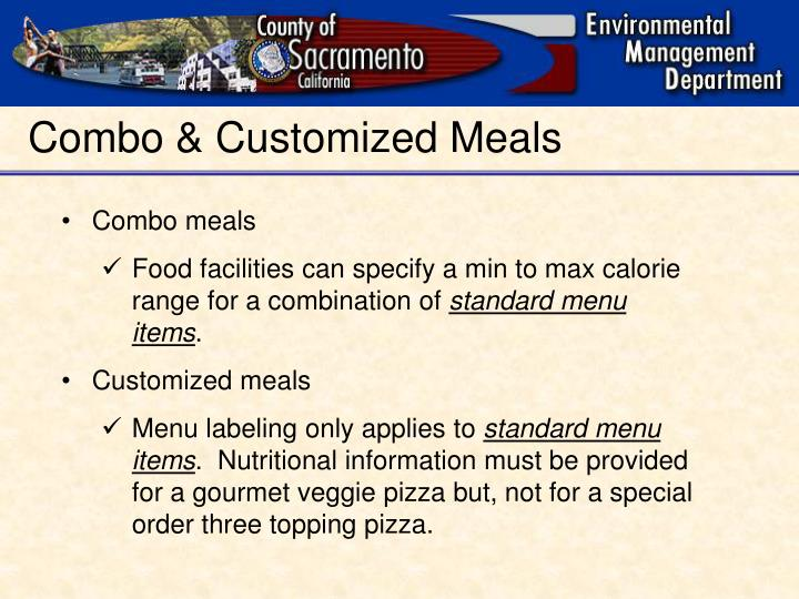 Combo & Customized Meals