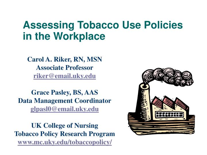 assessing tobacco use policies in the workplace n.