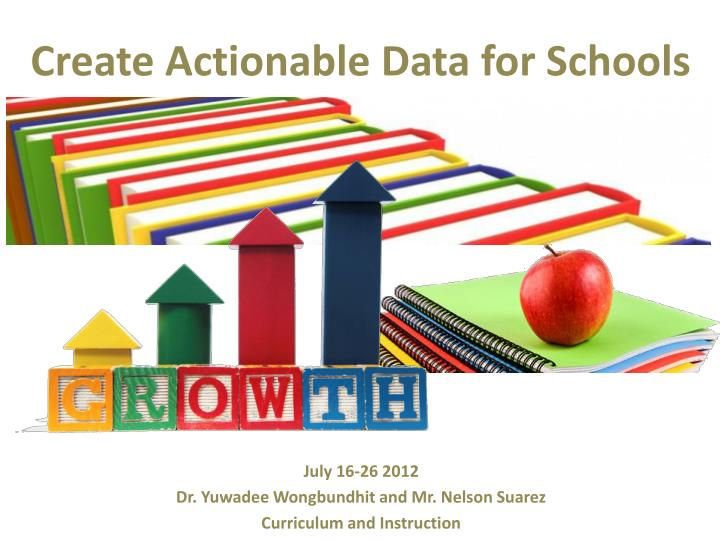 create actionable data for schools n.