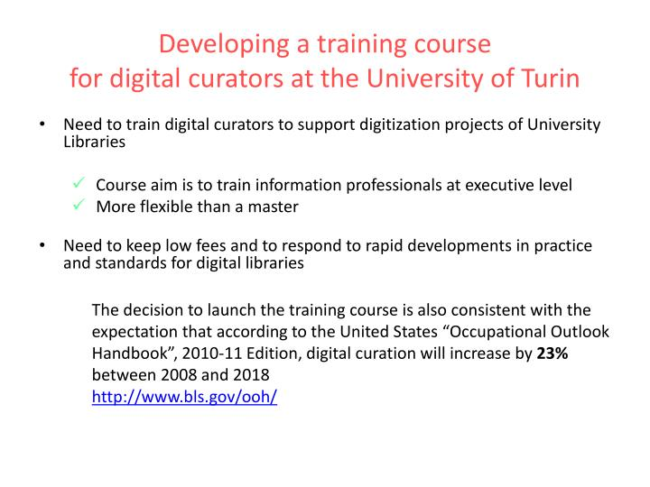 Developing a training course                                                                                                                                        for digital curators at the University of Turin