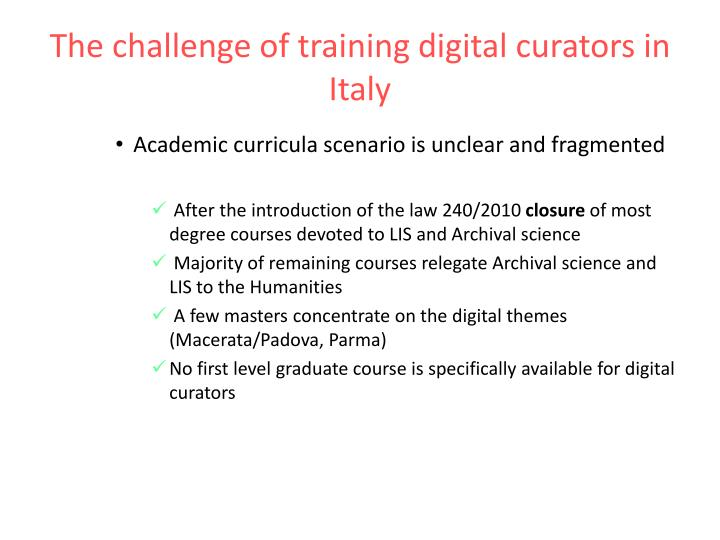 The challenge of training digital curators in Italy
