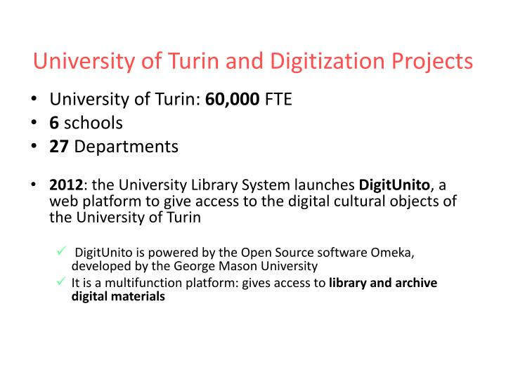 University of Turin and Digitization Projects
