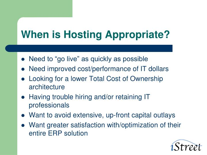 When is hosting appropriate