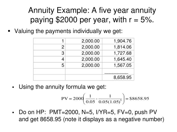 Annuity Example: A five year annuity paying $2000 per year, with r = 5%.