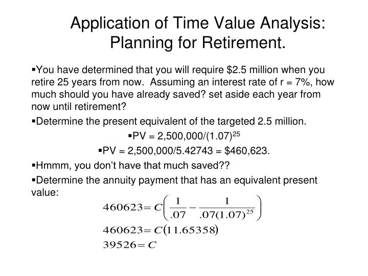 Application of Time Value Analysis: Planning for Retirement.