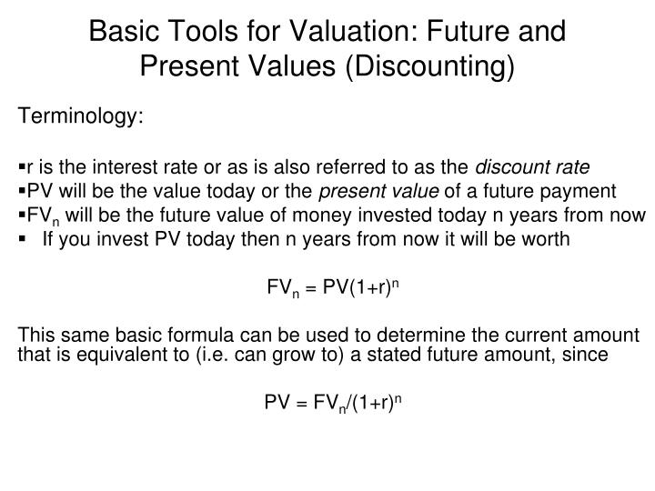 Basic tools for valuation future and present values discounting