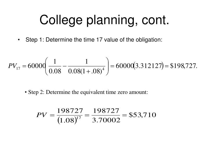 College planning, cont.