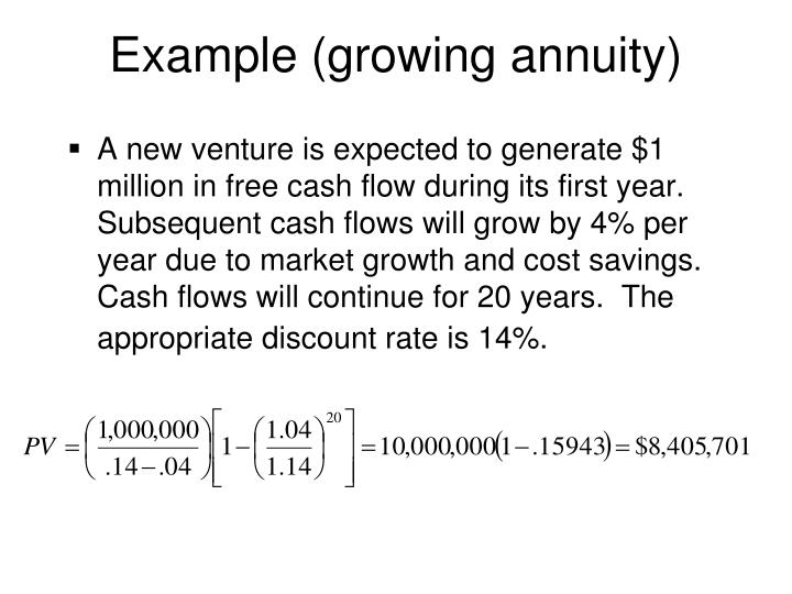 Example (growing annuity)
