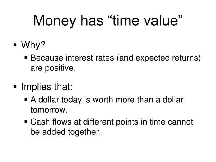 Money has time value